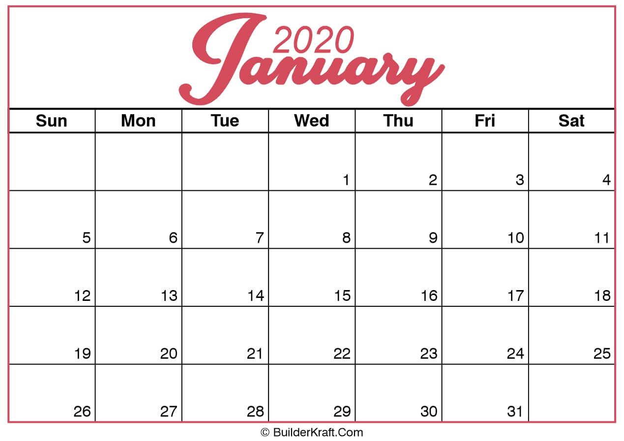 January 2020 Calendar Printable Template - BuilderKraft
