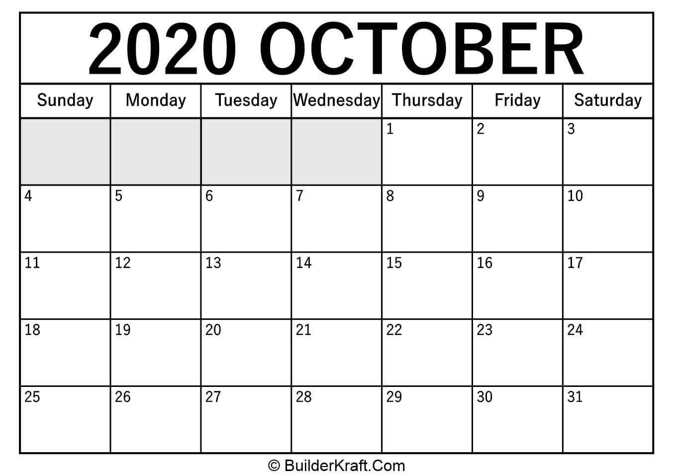 October January 2020 Calendar