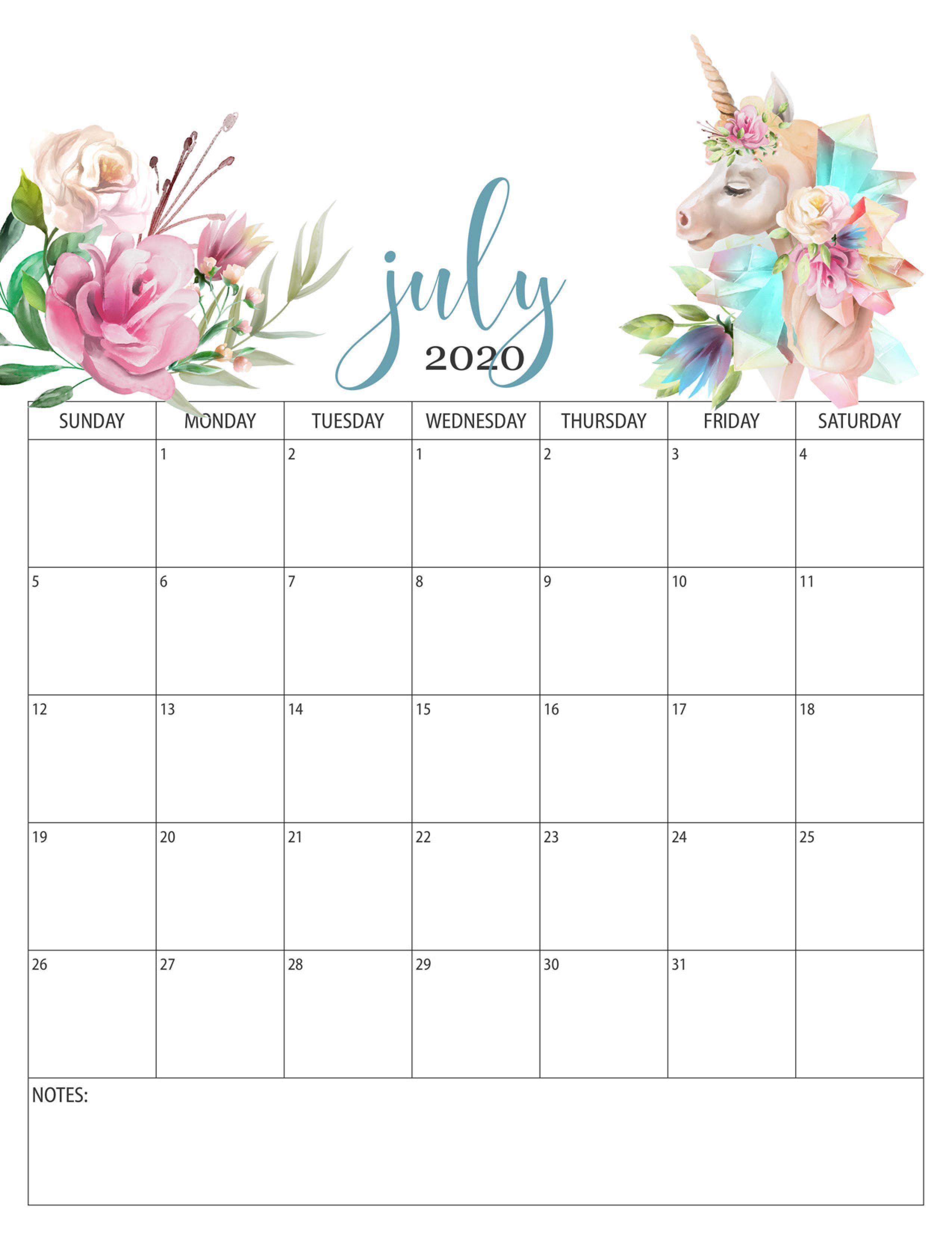 Floral Calendar July 2020