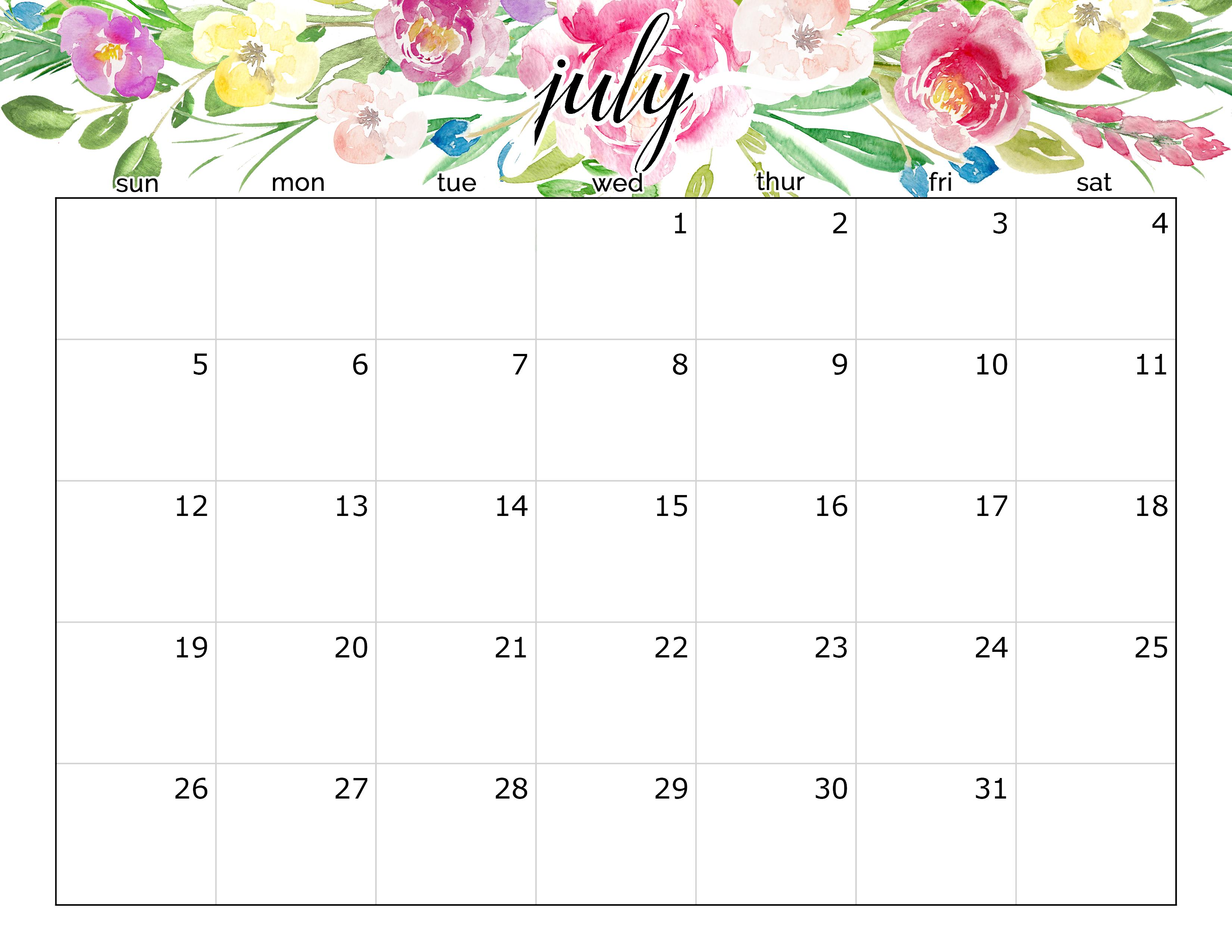 July 2020 Calendar Floral