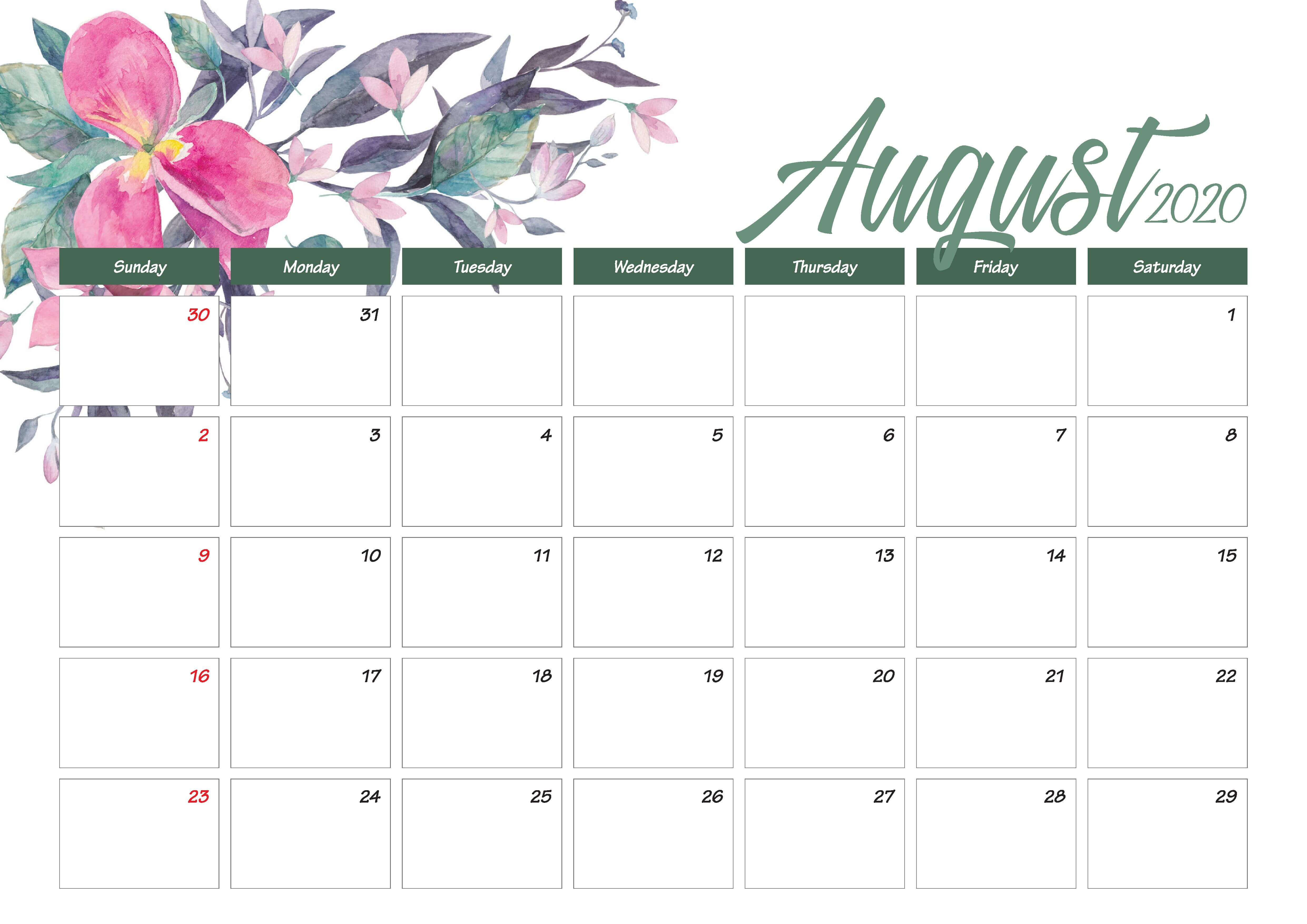 Printable August 2020 Calendar Cute