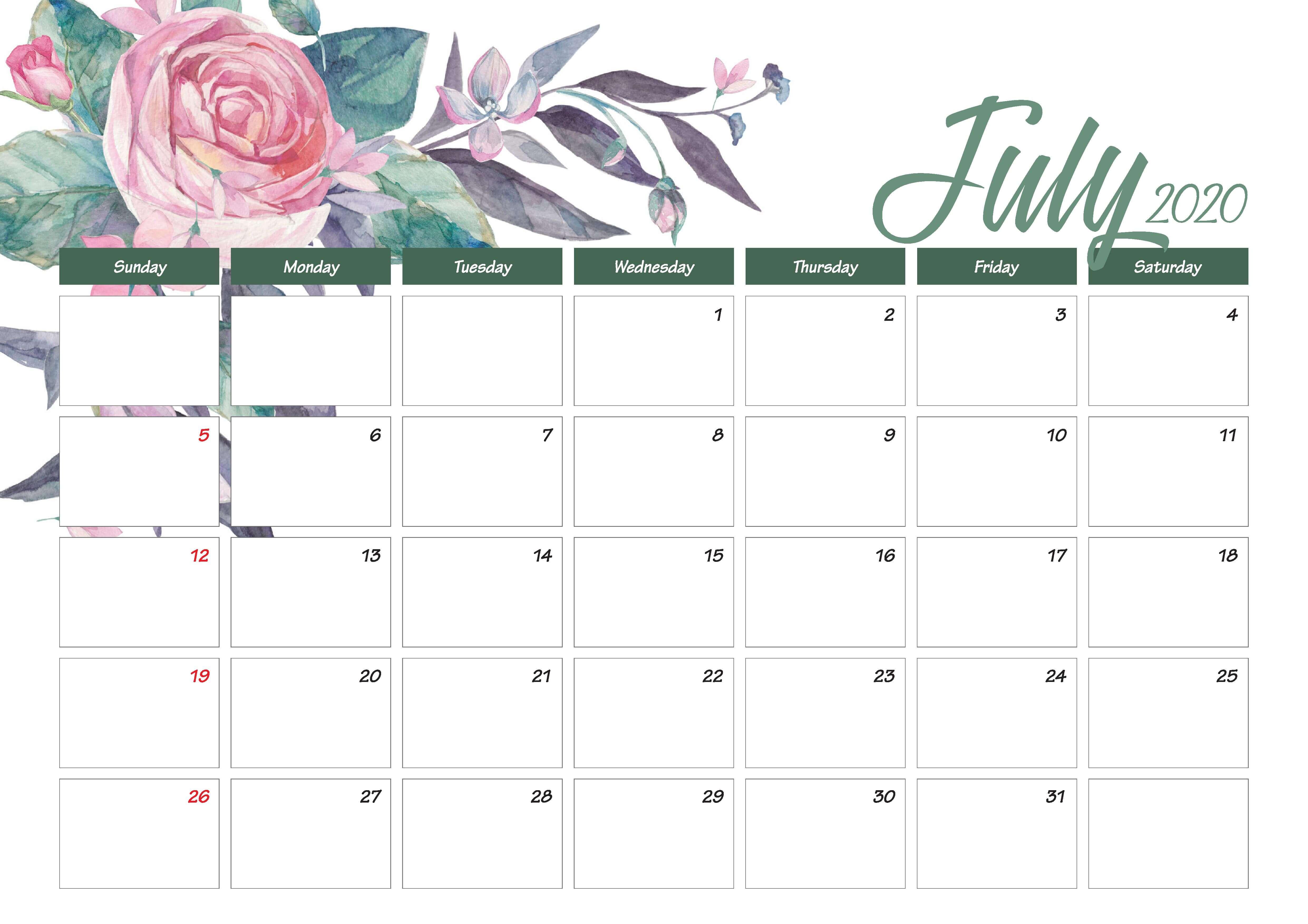 Printable July 2020 Calendar Cute