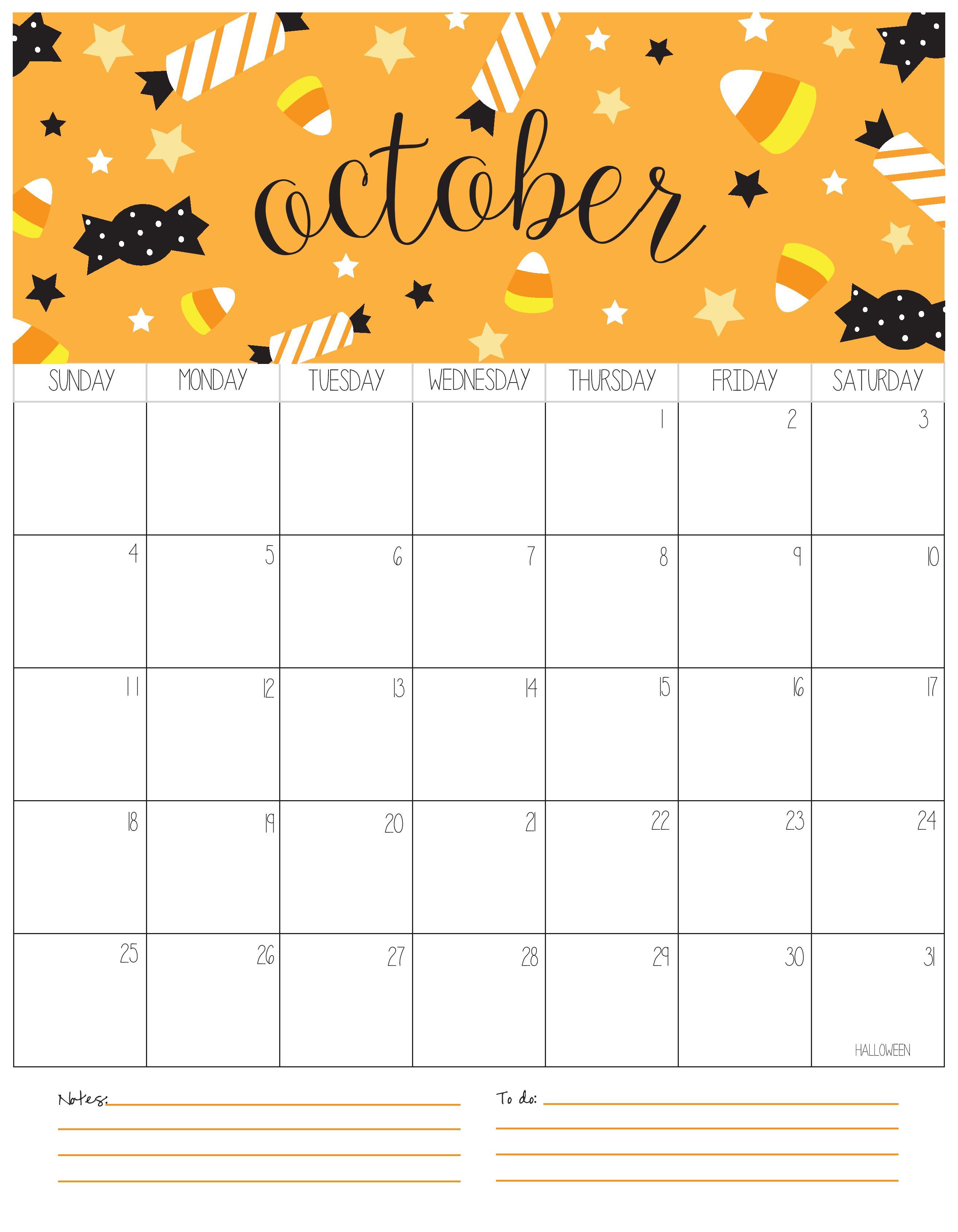 Cute October Calendar 2020