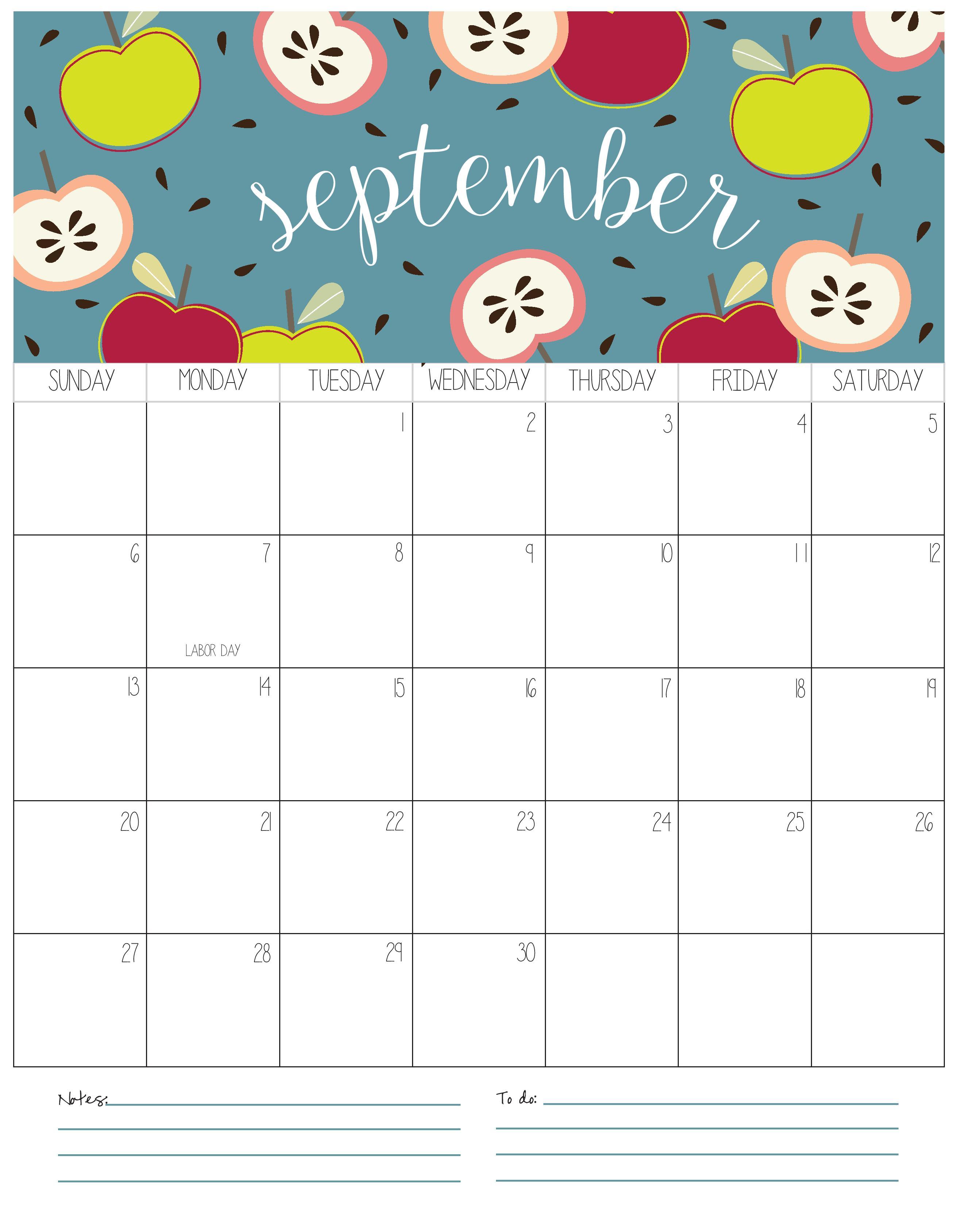 Cute September Calendar 2020