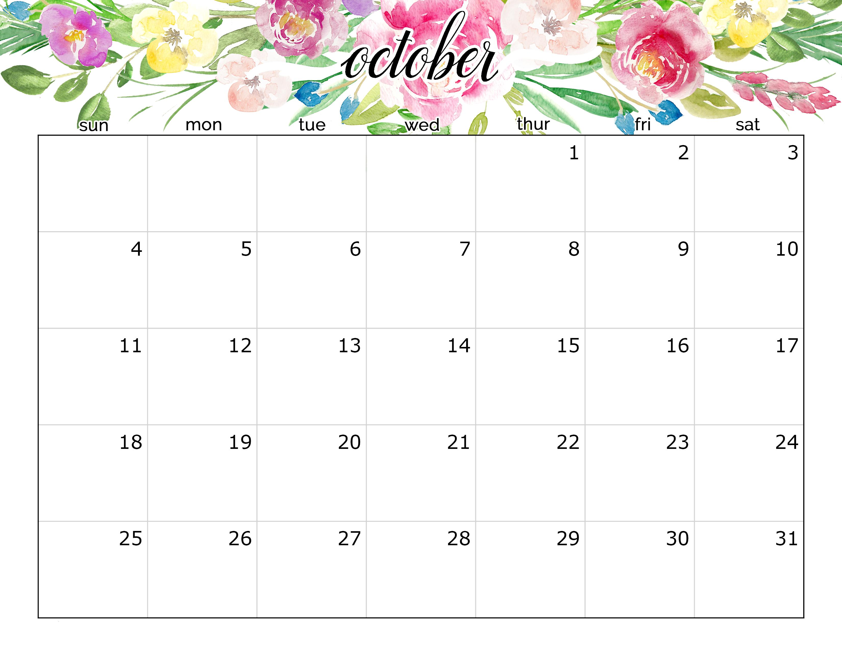 October 2020 Calendar Floral