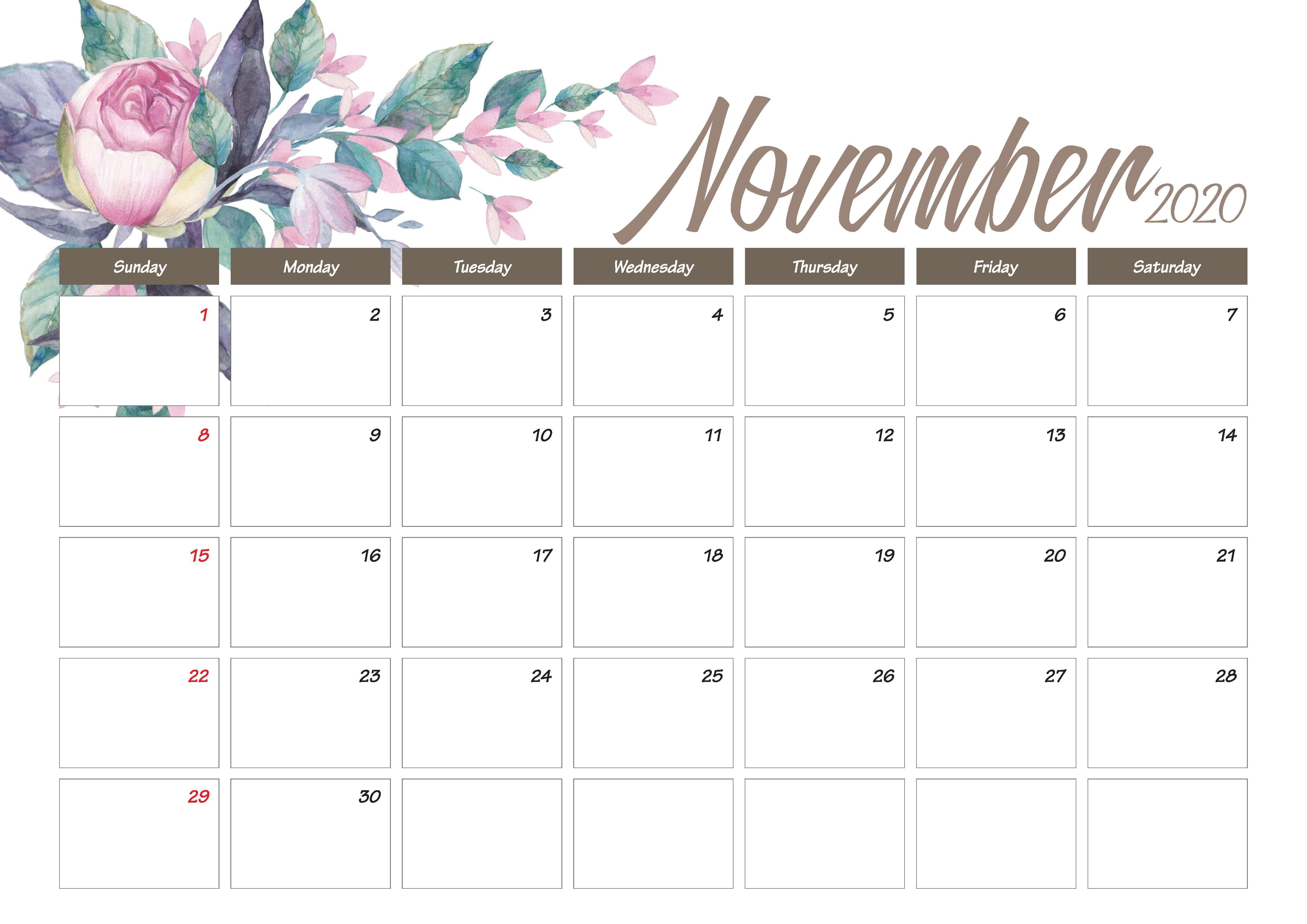 Printable November 2020 Calendar Cute