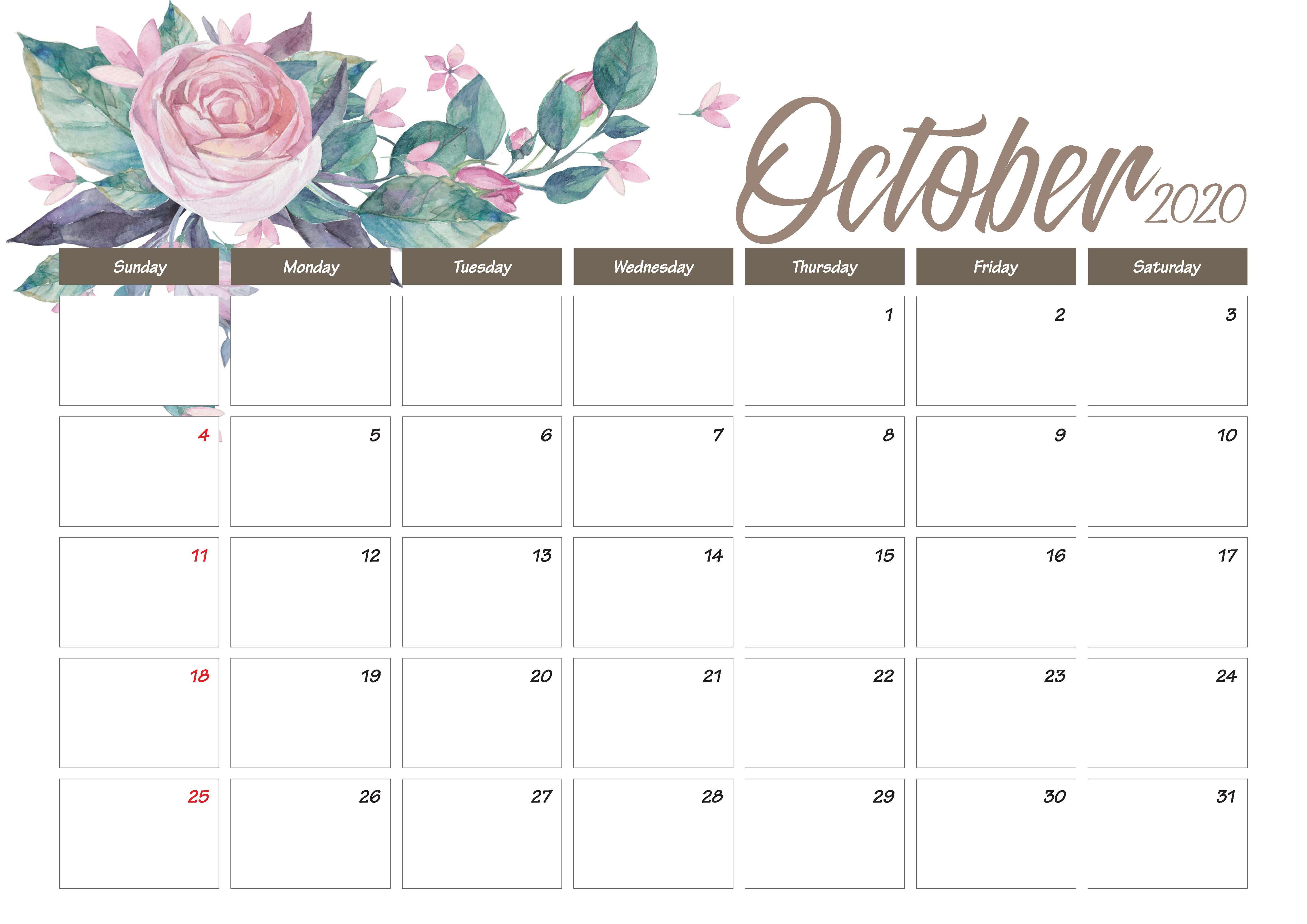 Printable October 2020 Calendar Cute