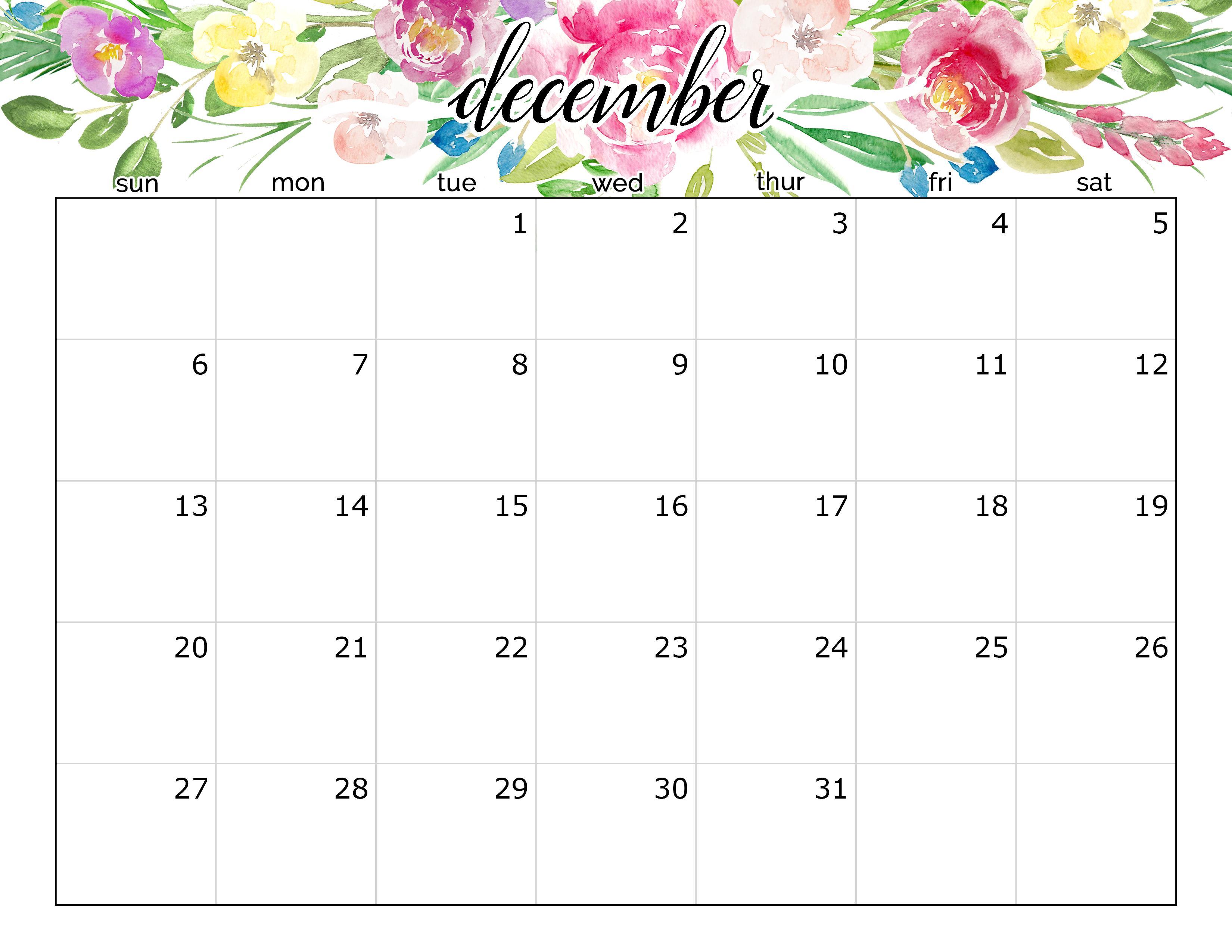 December 2020 Calendar Floral