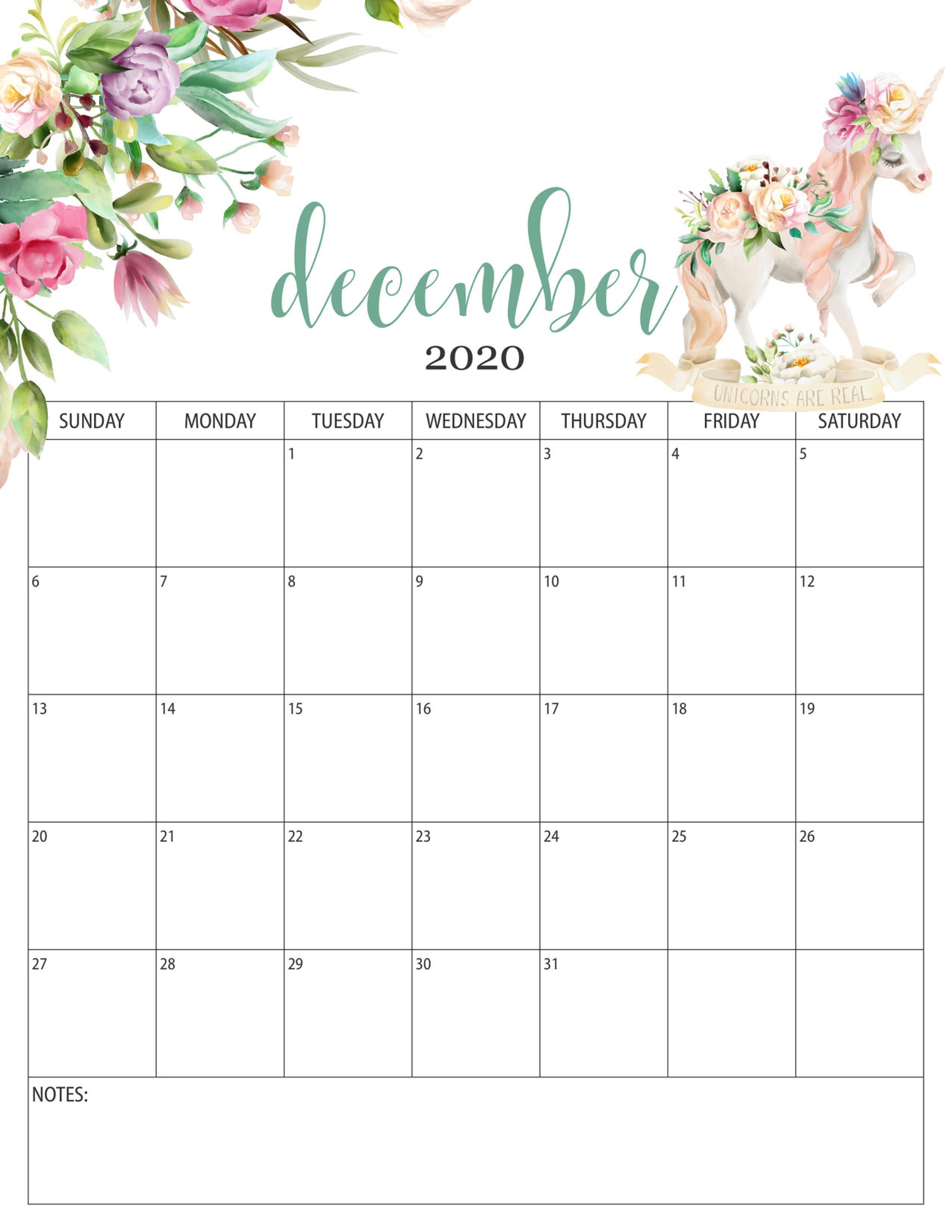 Floral Calendar December 2020