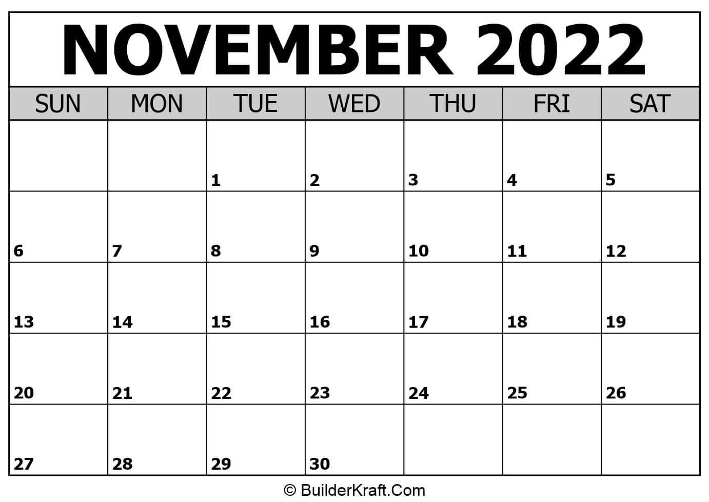 November 2022 Calendar Template