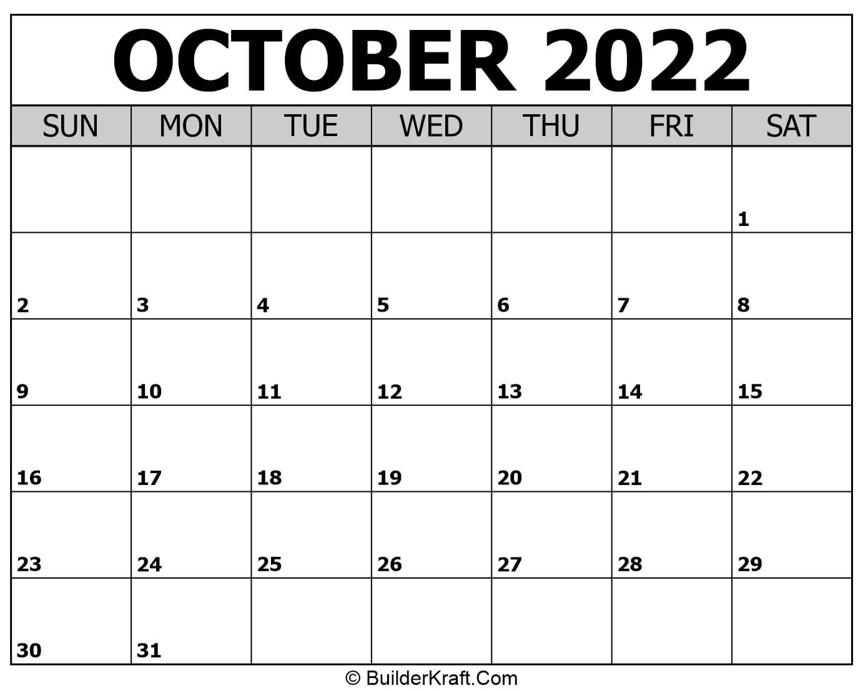 October 2022 Calendar Template