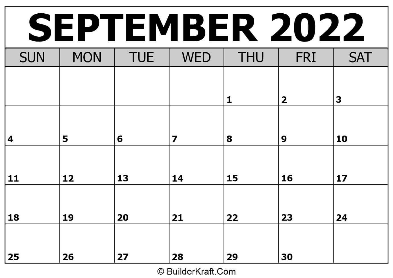 September 2022 Calendar Template